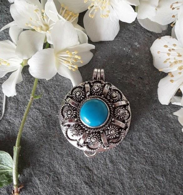 AGNES CREATIONS // PENDENTIF POISON / BOITE A SECRET EN ARGENT 925 & Turquoise