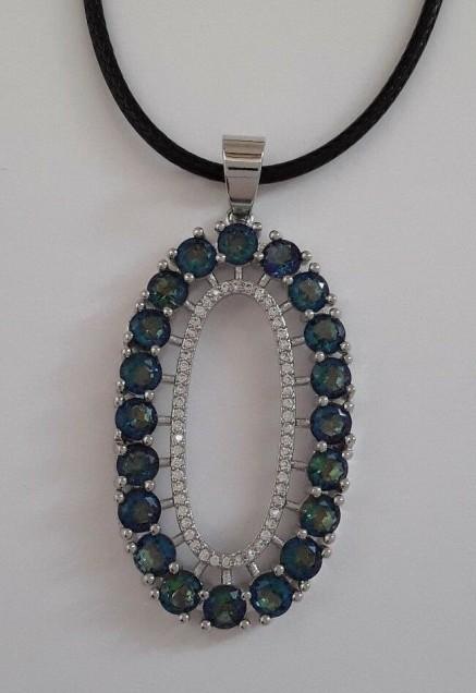 AGNES-CREATIONS / Pendentif ovale Topazes Bleue Mystique Zirconium Argent 925