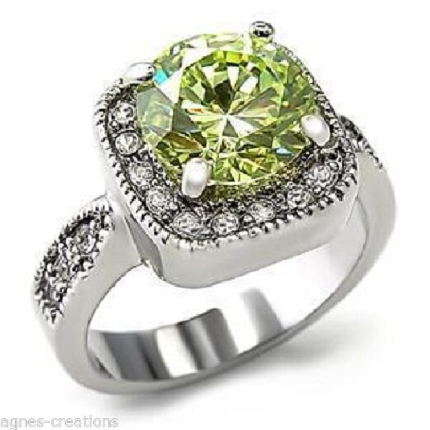 "AGNES CREATIONS / BAGUE FEMME RHODIE  ""SOLITAIRE PERIDOT"" ZIRCONIUMS TAILLE 50"