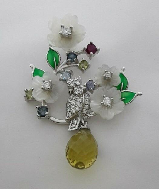 AGNES CREATIONS // Pendentif de Créateur Fleur Nacre perle citrine en argent 925