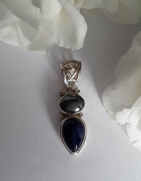 AGNES CREATIONS / Sympa Pendentif Femme Argent 925 orné Hématite & Lapis Lazuli