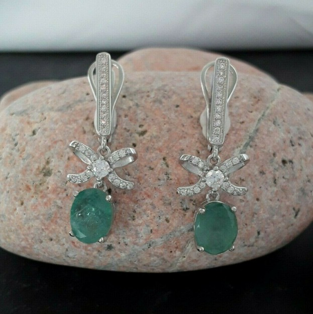 AGNES CREATIONS /Jolies Boucles oreilles noeud Emeraude & Zirconium argent 925