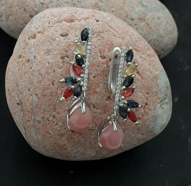 AGNES CREATIONS / Boucles oreilles Opale Rose Saphir Grenat Citrine argent 925