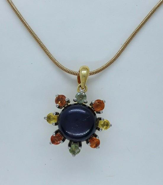 AGNES CREATIONS / Joli Pendentif Fleur Perle Noire Citrine Tourmaline en Vermeil