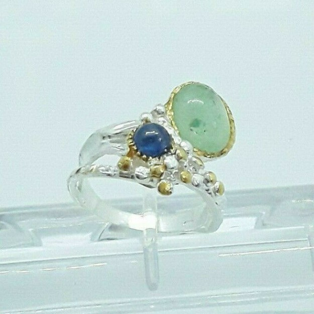 AGNES CREATIONS / Bague Luxe Jade chrome Diopside argent 925 & Or  TAILLE 58