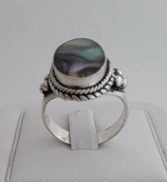 AGNES CREATIONS / JOLIE BAGUE FEMME ARGENT 925 ORNEE NACRE ABALONE - TAILLE 58