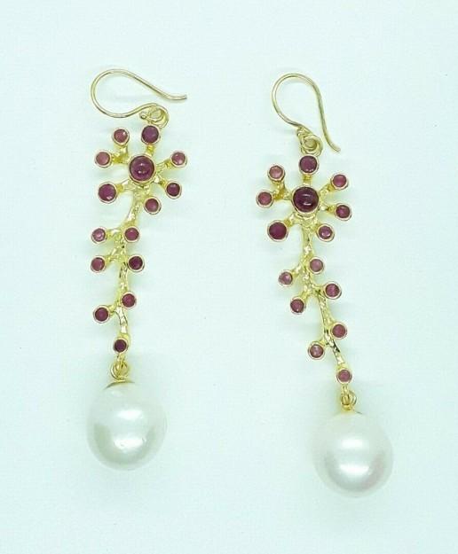 AGNES CREATIONS / Boucles d'oreilles de Créateur Vermeil & Perle Baroque  Rubis