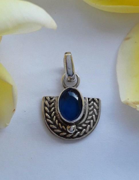 AGNES CREATIONS / Pendentif femme mode style Inde en Argent 925 & Lapis lazuli