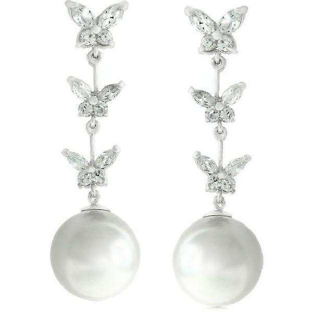 AGNES CREATIONS / Belles Boucles d'oreilles Longues Papillon & Perle Baroque