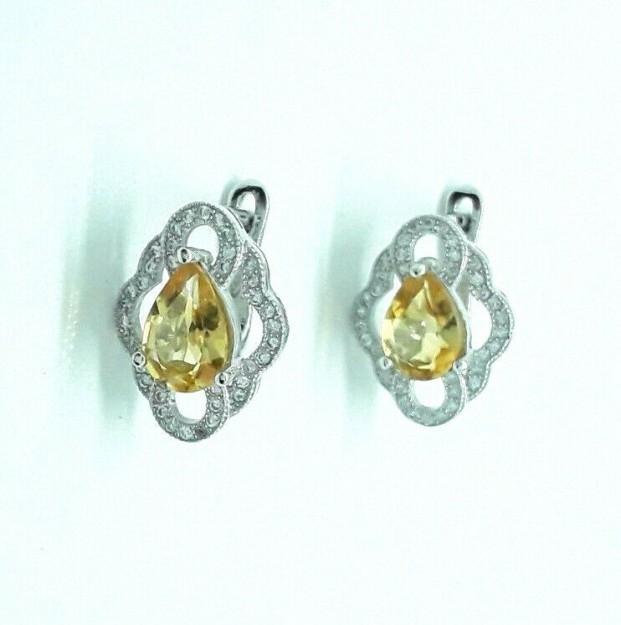 AGNES CREATIONS / Superbes Boucles d oreilles Citrine & Zirconiums argent 925