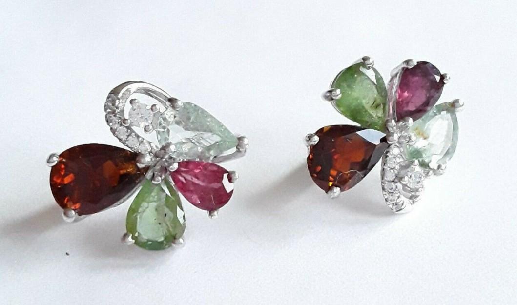 AGNES CREATIONS /Magnifique Boucles d oreilles Créateur argent 925 & Tourmaline