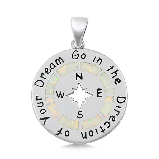 Pendentif Mixte en Argent 925 Boussole orné d'une Opale blanche