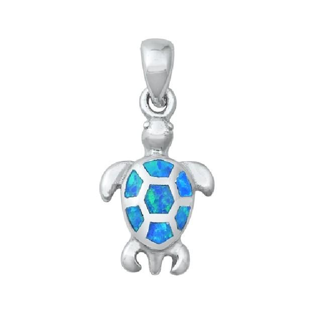 Pendentif Mixte Tortue orné d' Opale bleue en Argent 925