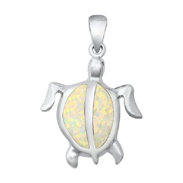 Pendentif Mixte Tortue de mer orné d' Opale blanche en Argent 925