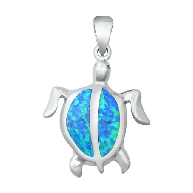 Pendentif Mixte Tortue de mer orné d' Opale bleue en Argent 925