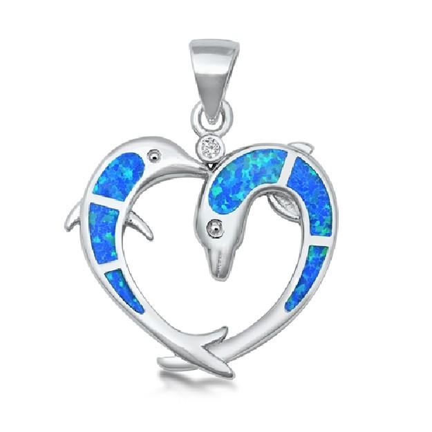 Pendentif Coeur & Dauphin orné d' Opale bleue en Argent 925