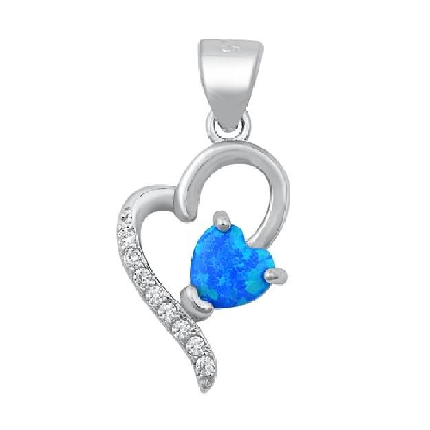 Pendentif Coeur orné d' Opale bleue & Zirconiums en Argent 925