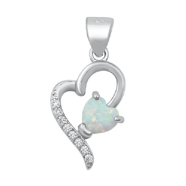 Pendentif Coeur orné d' Opale blanche & Zirconiums en Argent 925