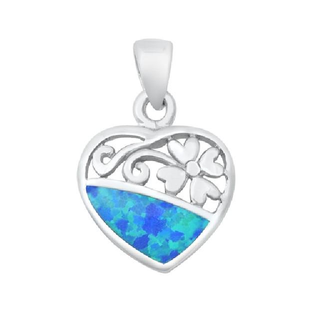 Pendentif Cœur et Fleur orné d'Opale bleue en Argent 925