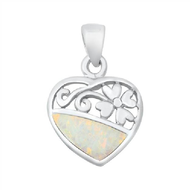 Pendentif Cœur et Fleur orné d'Opale blanche en Argent 925