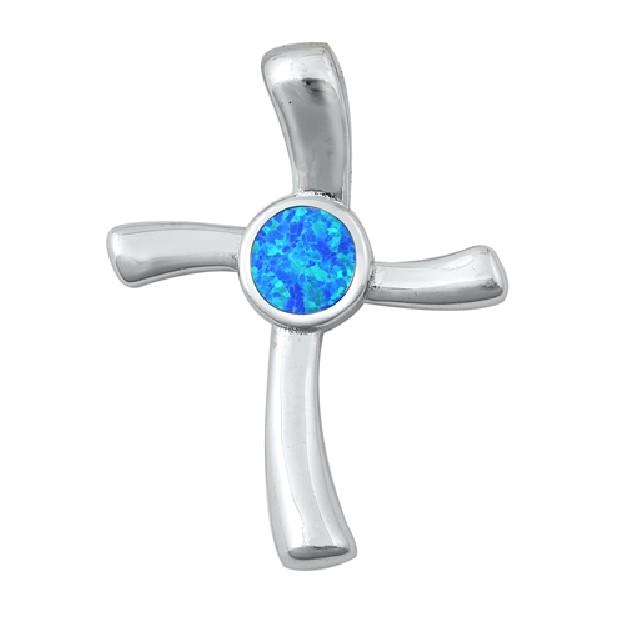 Pendentif Mixte Croix orné d'Opale bleue en Argent 925