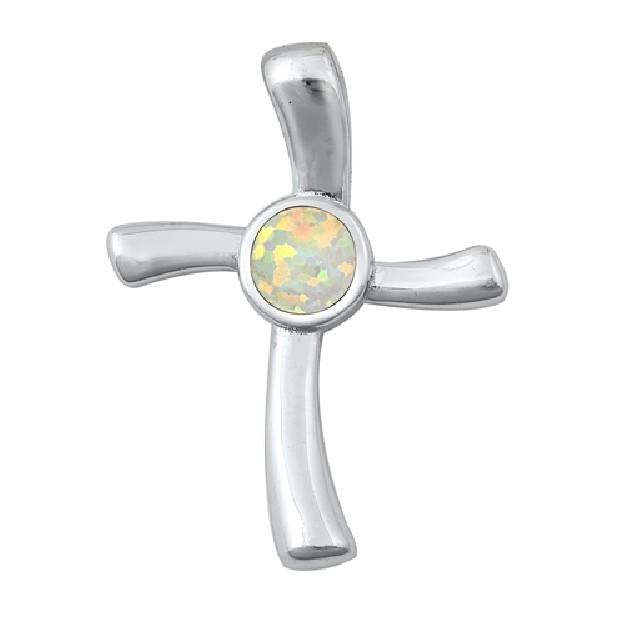 Pendentif Mixte Croix orné d'Opale blanche en Argent 925