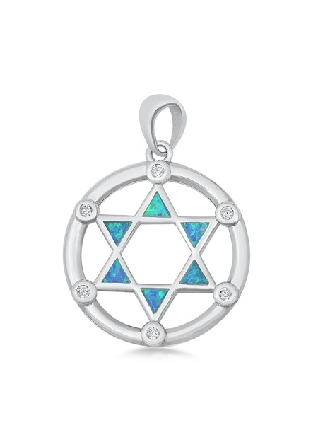 Pendentif Mixte Étoile de David orné d' Opale bleue en Argent 925