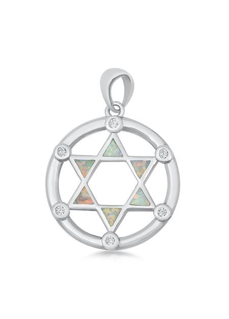 Pendentif Mixte Étoile de David orné d'Opale blanche en Argent 925