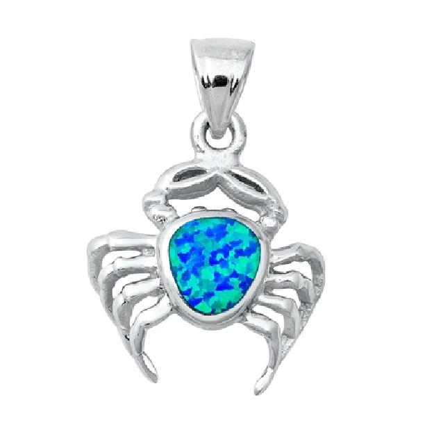 Pendentif Mixte Crabe orné d'Opale bleue en Argent 925