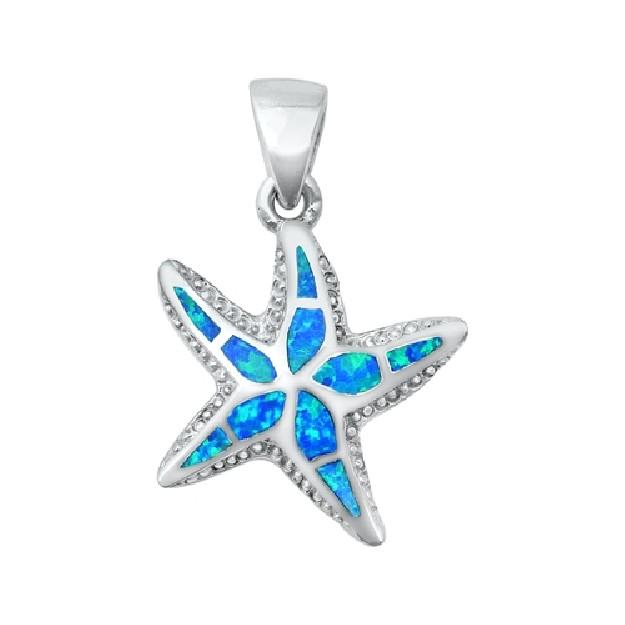 Pendentif Mixte Étoile de mer orné d' Opale bleue en Argent 925