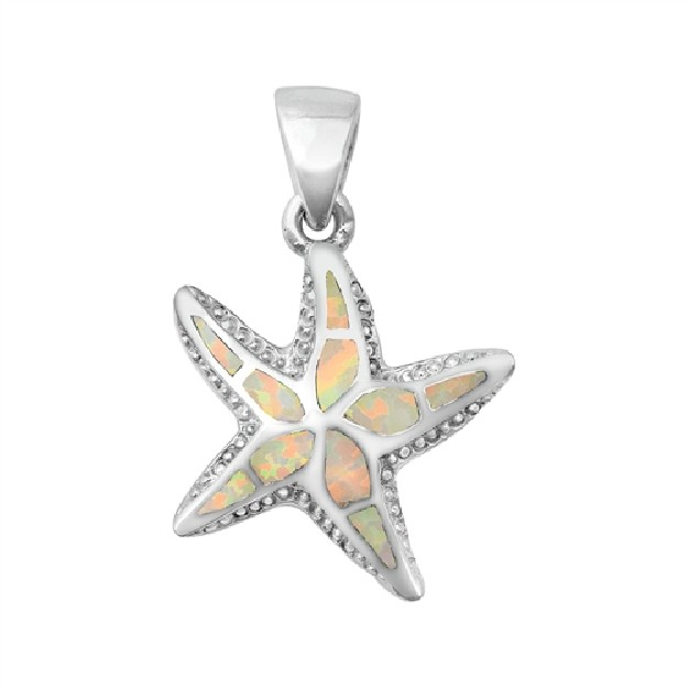 Pendentif Mixte Étoile de mer orné d' Opale blanche en Argent 925