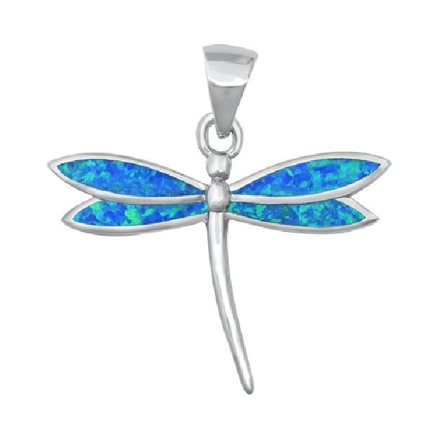 Pendentif Mixte Libellule orné d'Opale bleue en Argent 925