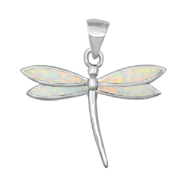 Pendentif Mixte Libellule orné d'Opale blanche en Argent 925