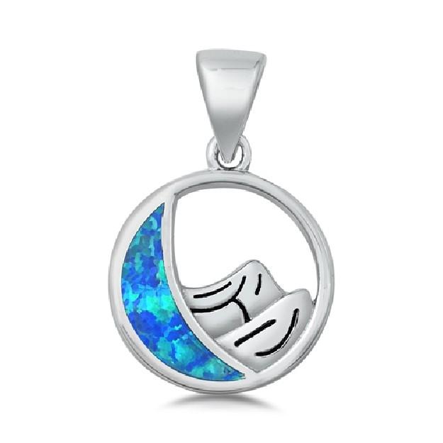 Pendentif Mixte Montagne orné d'Opale bleue en Argent 925