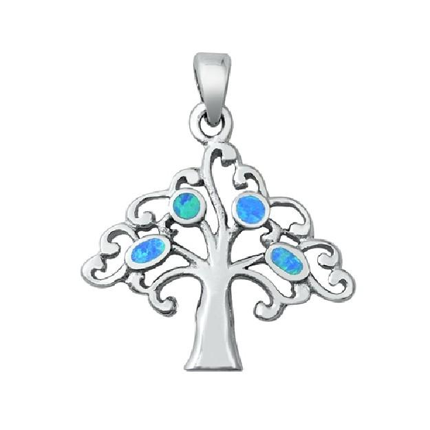Pendentif Mixte Arbre orné d'Opale bleue en Argent 925