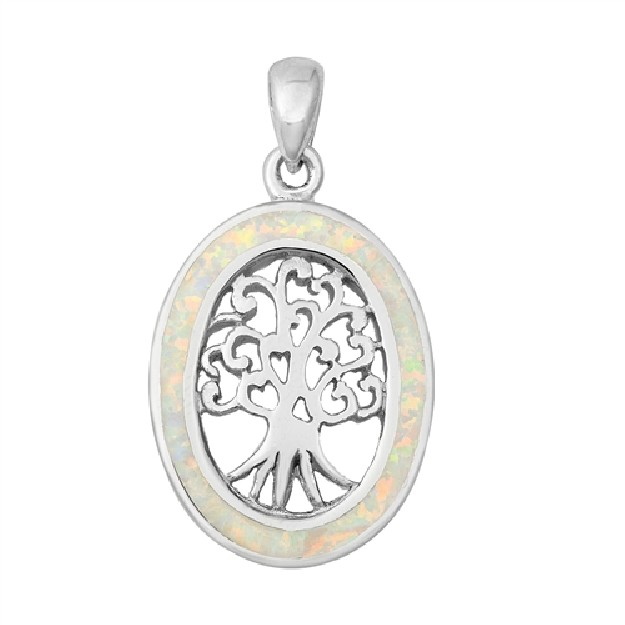 Pendentif Mixte Arbre de vie orné d'Opale blanche en Argent 925
