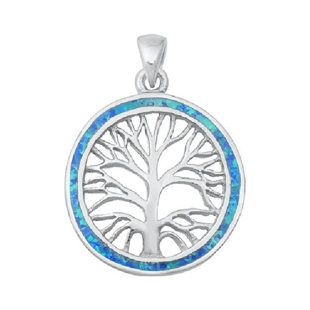 Pendentif Mixte Arbre de vie orné d'Opale bleue en Argent 925