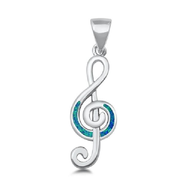 Pendentif Mixte Note de musique orné d'Opale bleue en Argent 925