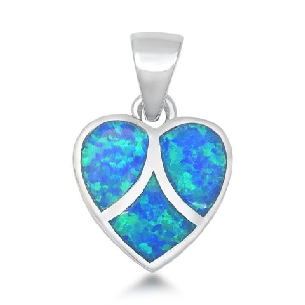 Pendentif Cœur orné d' Opale bleue en Argent 925