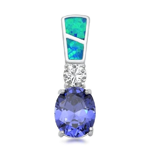 Pendentif long orné d'Opale et Tanzanite  bleues en Argent 925