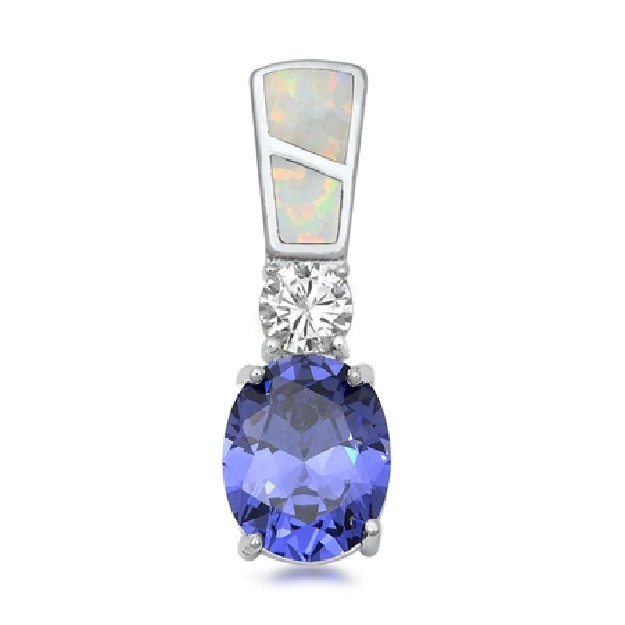Pendentif long orné d'Opale blanche et Tanzanite bleue en Argent 925