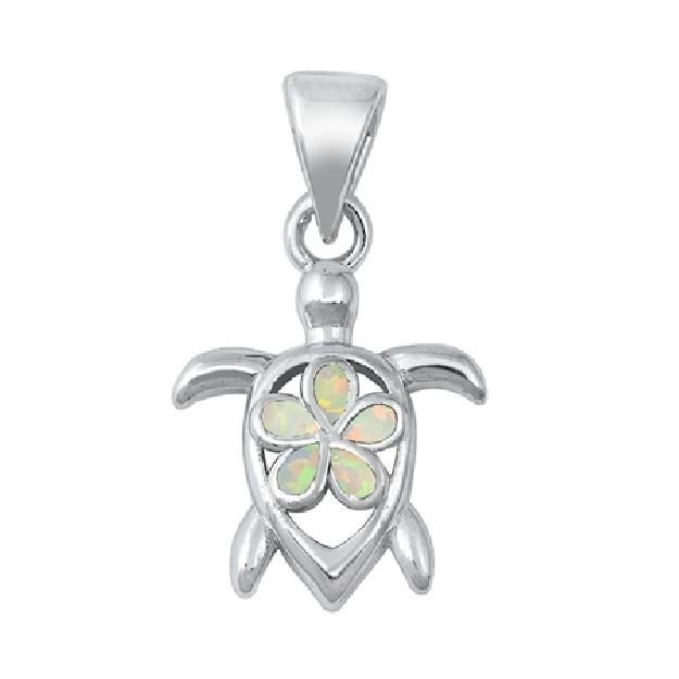 Pendentif Tortue avec une Fleur de Plumeria orné d'Opale blanche en Argent 925