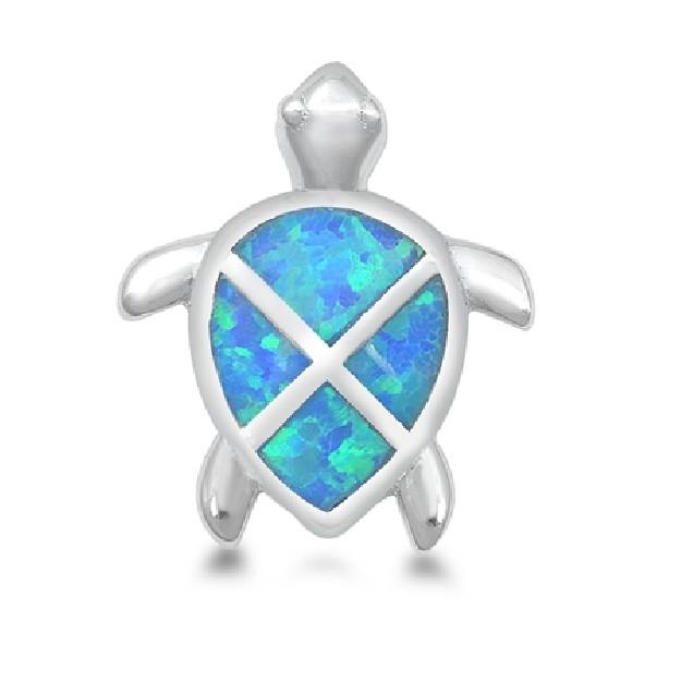 Pendentif Tortue orné d'Opale bleue en Argent 925