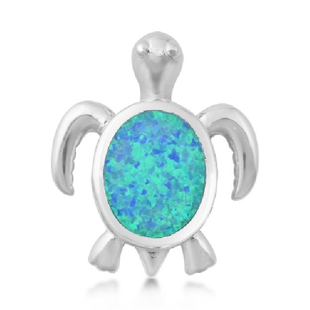 Pendentif Tortue orné d'une Opale bleue en Argent 925