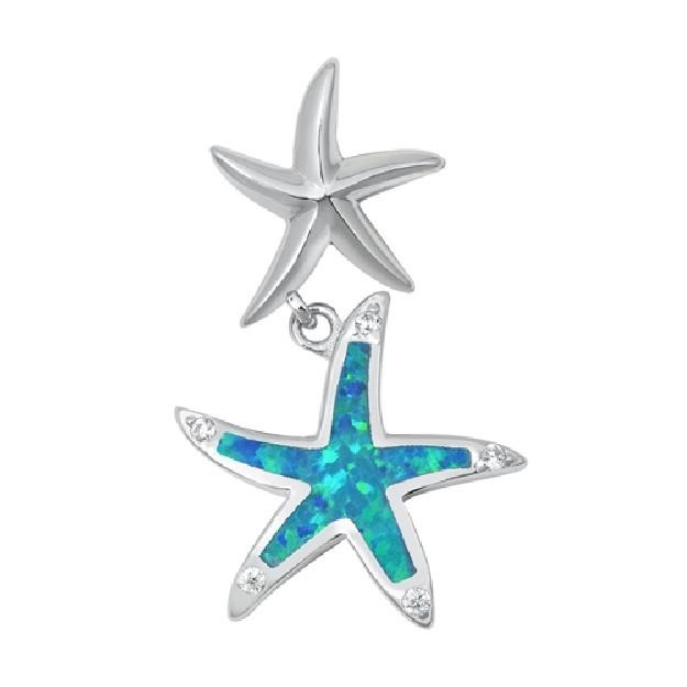 Pendentif Étoiles de mer orné d'une Opale bleue en Argent 925