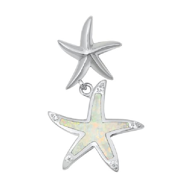Pendentif Étoiles de mer orné d'une Opale blanche en Argent 925