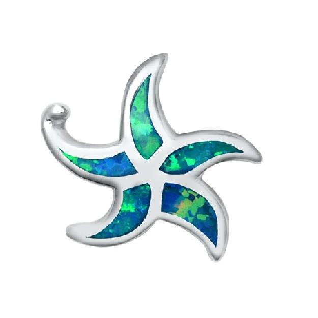 Pendentif Étoile de mer orné d'Opale bleue en Argent 925