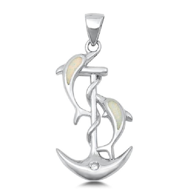 Pendentif Dauphins sur Ancre de Marine orné d'Opale blanche en Argent 925