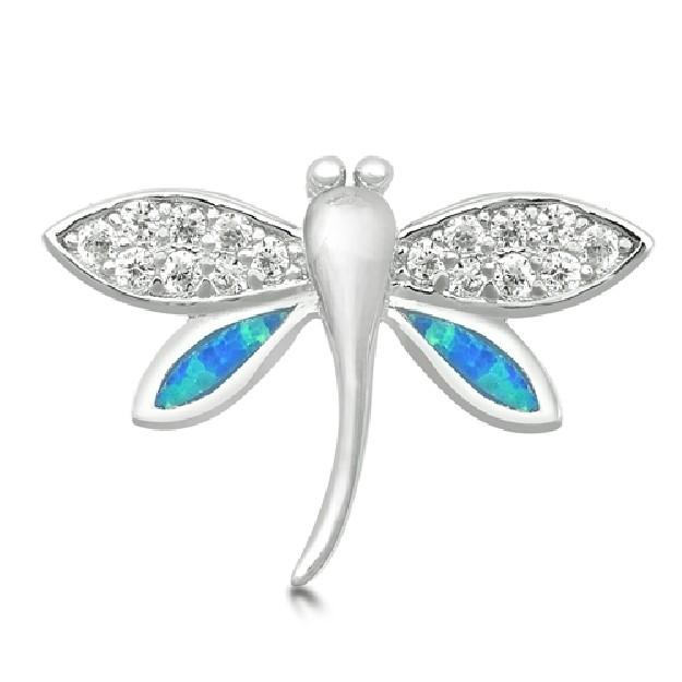 Pendentif Libellule orné d'Opale bleue en Argent 925