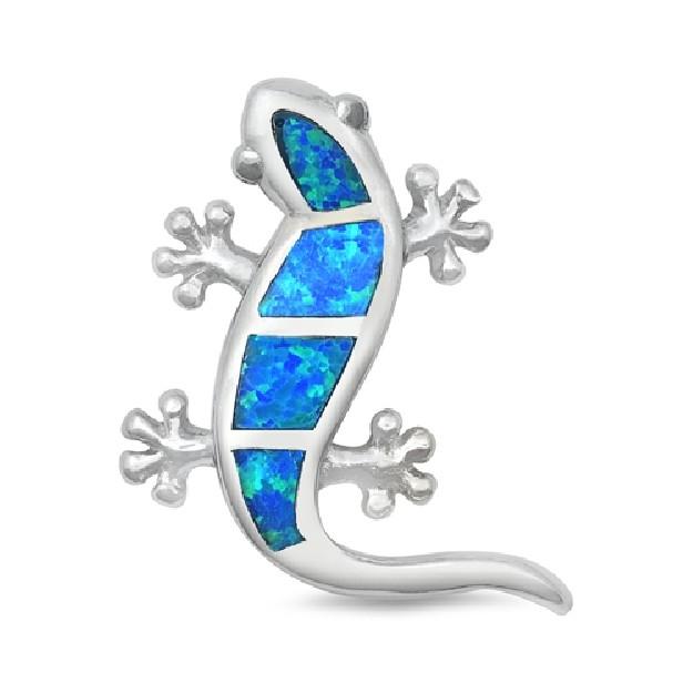 Pendentif Lézard orné d'Opale bleue en Argent 925